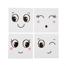Set of 4 Fun Faces Coasters