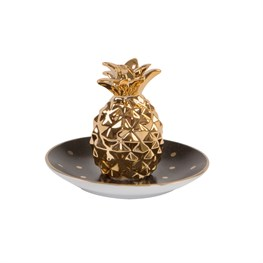 Black & Gold Polka Dot Pineapple Trinket Dish