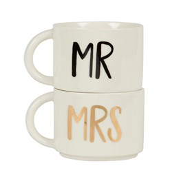 Set of 2 Mr & Mrs Stacking Mugs