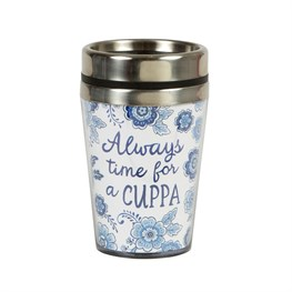 Blue Willow Floral Travel Mug