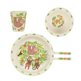 Sloth and Friends Bamboo Tableware Set