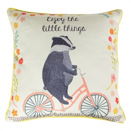 Enjoy the Little Things Badger on  Bike Cushion