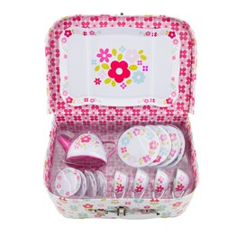 Retro Picnic Box Tea Set White