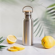 Stainless Steel Water Bottle with Bamboo Lid