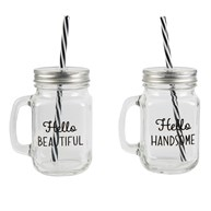 Hello Handsome & Beautiful Drinking Mason Jars (options available)