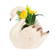 Rustic Swan Decoration with Flowers Cream