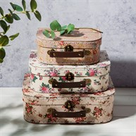 Vintage Rose Suitcases - Set of 3
