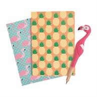 Flamingo and Pineapple Notepads & Flamingo Pen Set