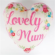 Lovely Mum Embroidered Heart Shaped Cushion