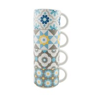 Set of 4 Mediterranean Mosaic Stacking Mugs