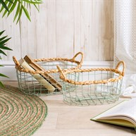 Green Wire Storage Basket - Set Of 2