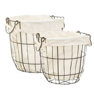 Round Wire Storage Baskets With Lining - Set Of 2