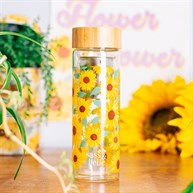 Sunflowers Glass Water Bottle With Infuser