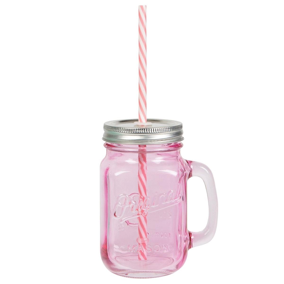 pink vintage original mason jar with straw