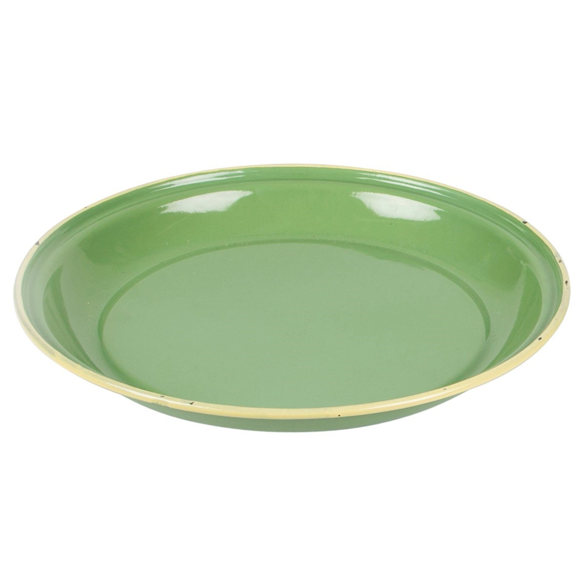 Green Two Tone Enamel Camping Plate Default Image