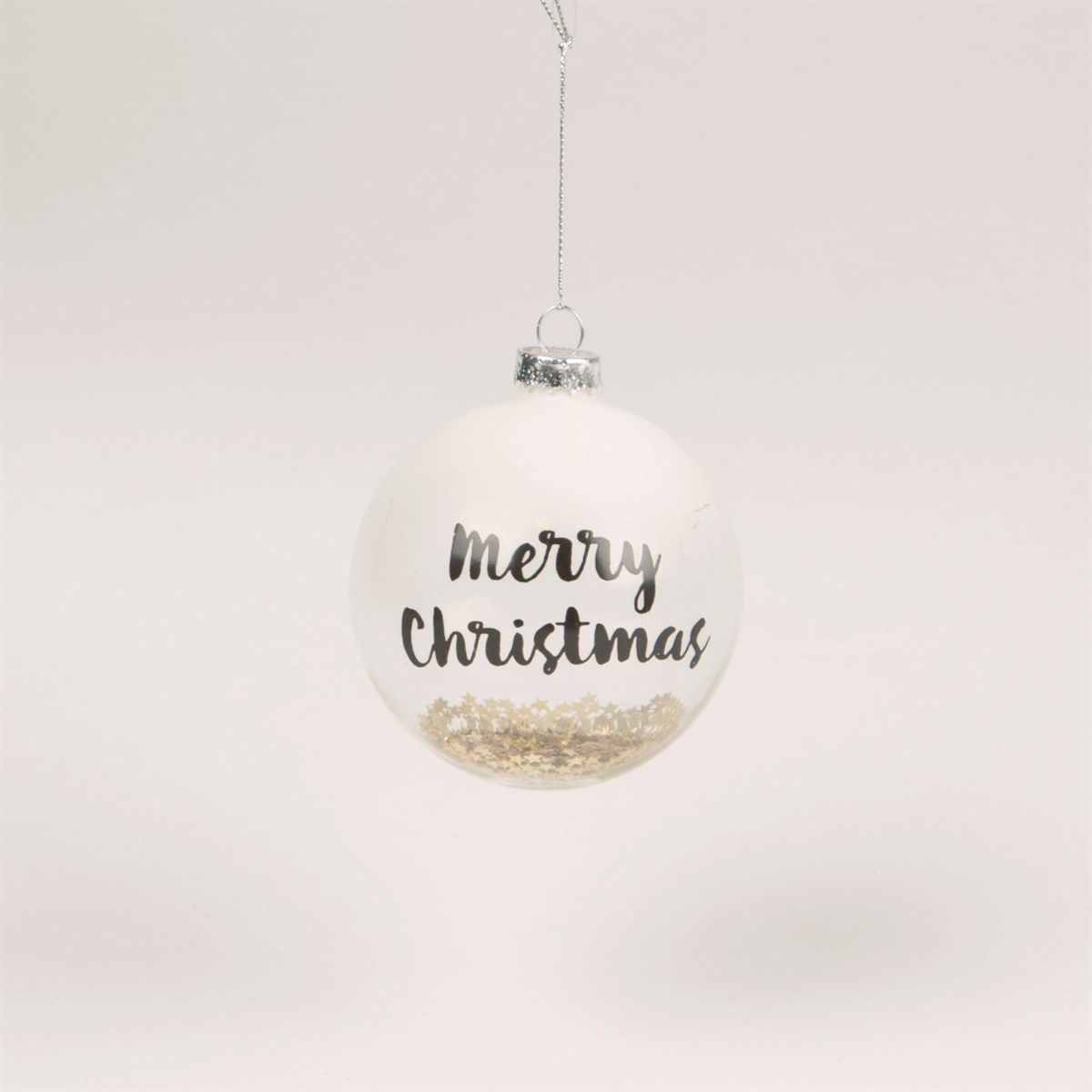 White Merry Christmas Bauble with Gold Sequins
