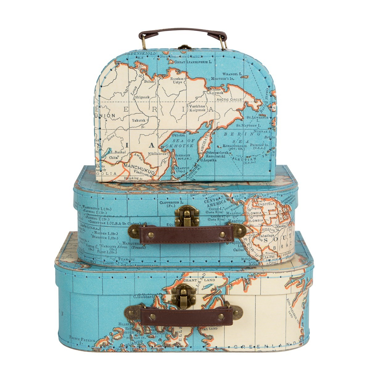 Set of 3 Vintage Map Suitcases : GIF044 from www.sassandbelle.co.uk size 1200 x 1200 jpeg 270kB