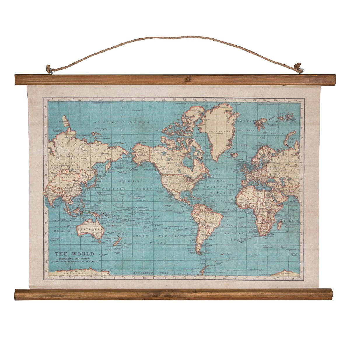 Vintage Map Wall Hanging Canvas Print on