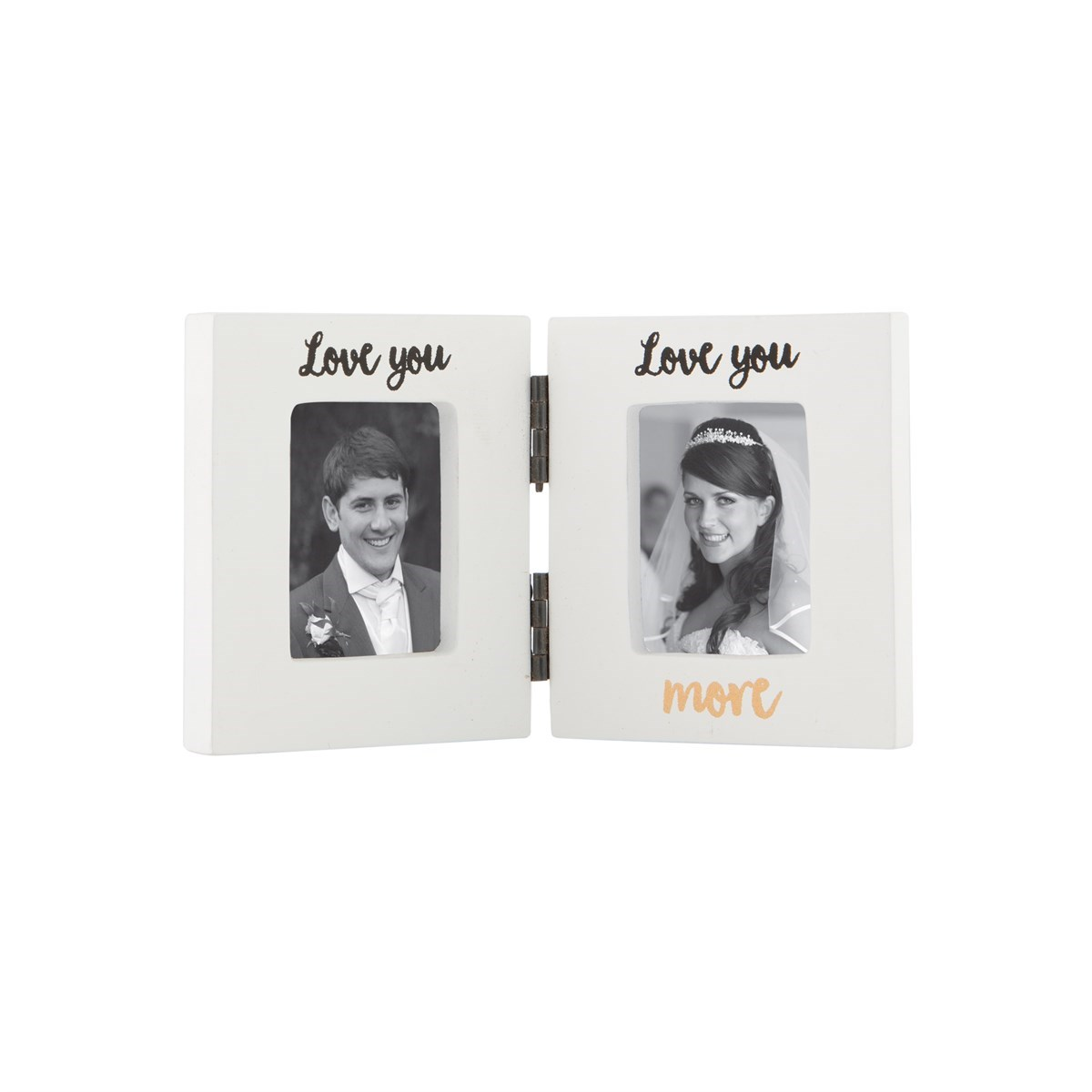Love You Love You More Double Photo Frame