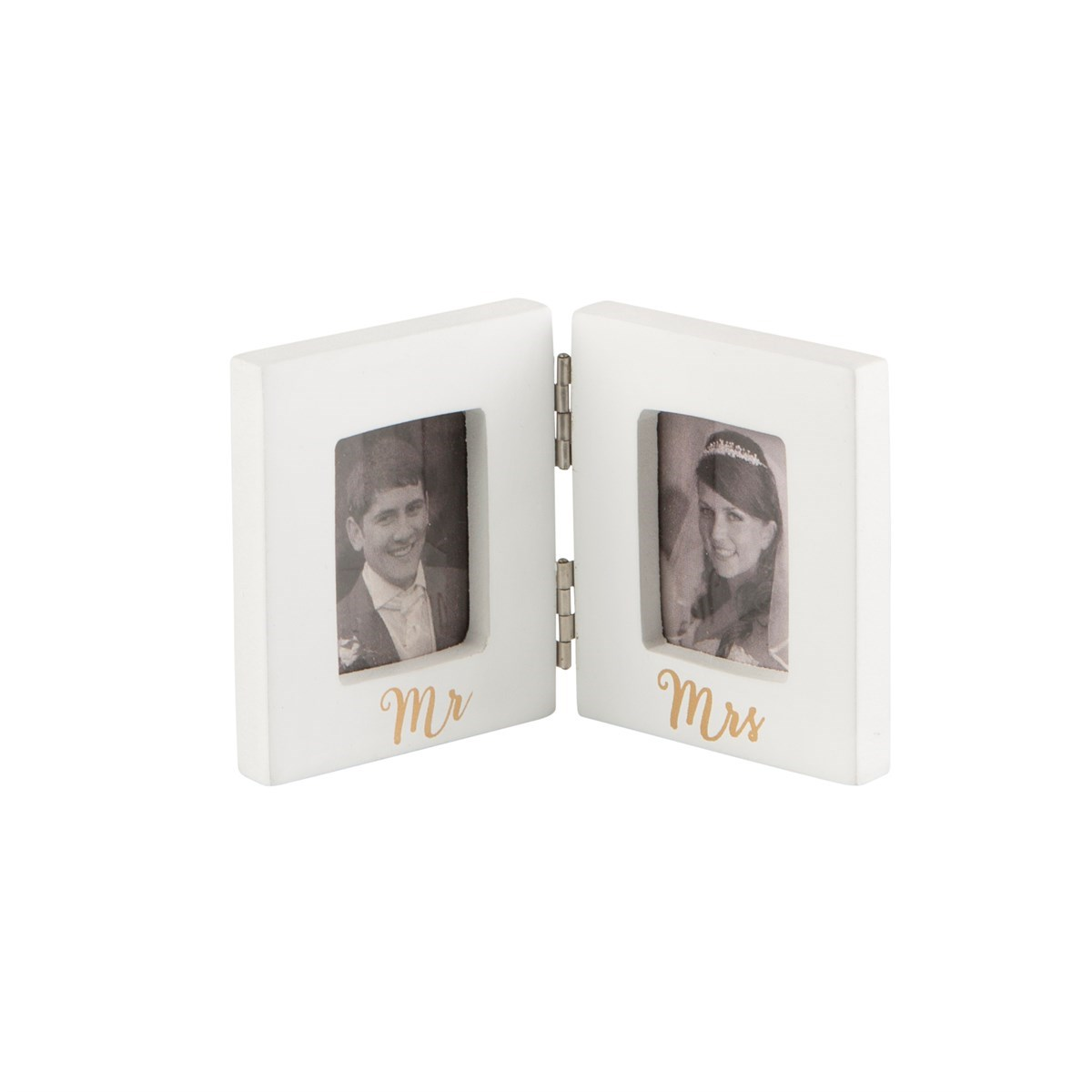 Mr & Mrs Gold Mini Double Photo Frame