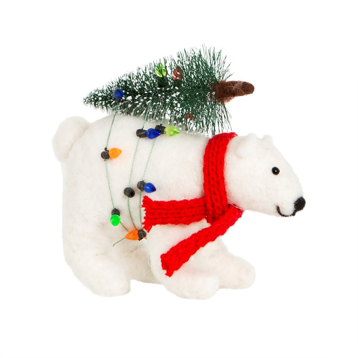 polar bear with christmas tree felt decoration default image