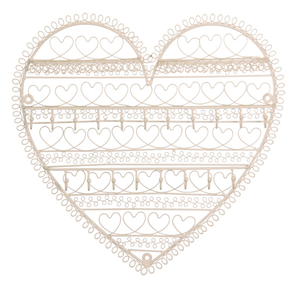 Cream Heart Shaped Wire Wall mounted Jewellery holder Four Seasons Liverpool