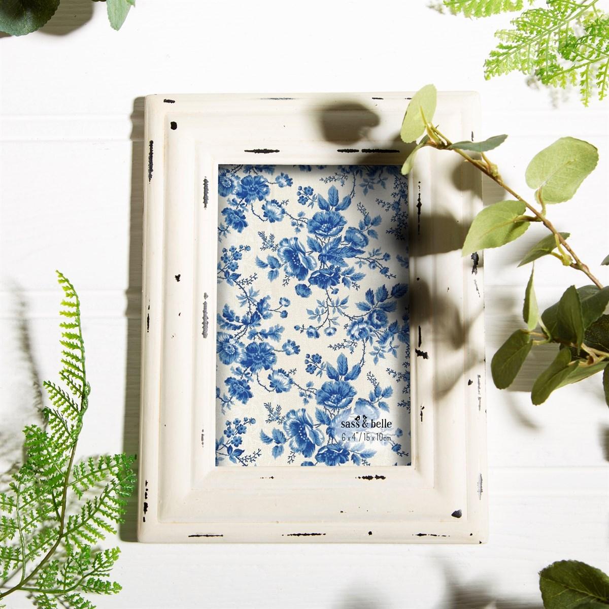 "Sass /& Belle Ashley Farmhouse Wood Standing Photo Frame 4/""x 6/"" Shabby Chic"